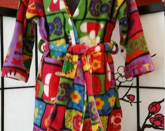 Multicolor Small Childs Hello Kitty Block Print Fleece Robe