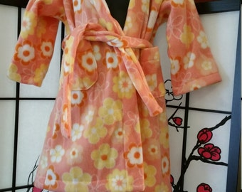 Peach/Coral Colored Small Childrens Robe with Floral Print