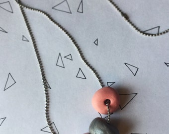 Necklace Pink Silver Light Pink Beads