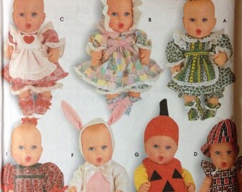 Simplicity 7430 - Baby Doll Clothing Collection - Size Small 13 - 14 Inches and Medium 15 - 16 Inches