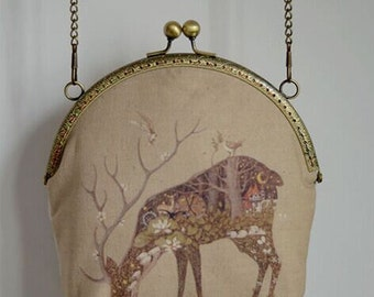 Handmade Khaki Fawn Metal Frame Purse Holiday gifts/Coin purse/Pouch/clutch/tote bag/ Kiss lock frame bag