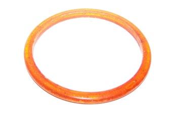 Vintage Orange Bracelet / Confetti Lucite / Clear Orange Glitter Bangle Bracelet - Thin Bangle / Vintage Bracelet