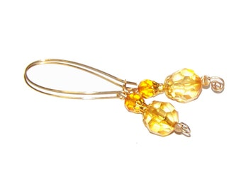 Yellow Earrings - Golden Yellow / SALE / Citrine Yellow Dangle Earrings - Long - BIG Bead