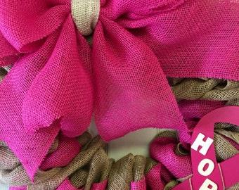 Breast Cancer awareness wreath pink burlap wreath door hanger  fight like a girl cancer sucks believe hope faith  wood chevron