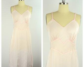 Vintage 1950s Slip / Seamprufe 50s Pink Negligee  / 36 Medium