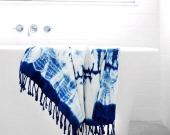 MOONWAKE WOVEN PESHTEMAL- Turkish Bath Towel – Hand Dyed – Natural Organic Indigo