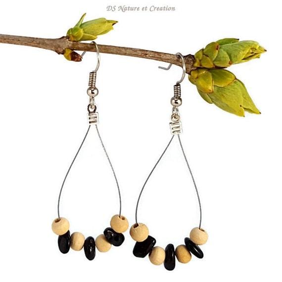 Black Stone Earrings: Silver Jewelry Tourmaline Earrings Black Stone Jewelry