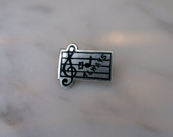 Sterling and Enamel 'Always Be Natural' Music Lapel Pin