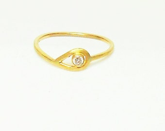 14k Gold and Diamond Solitaire Ring, Solid 14k Gold Ring, Diamond  Engagement Ring, 14k Gold and Diamond Stacking Ring, Diamond Promise Ring