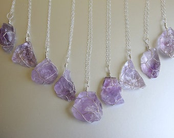 Raw Amethyst Necklace, Sterling Silver, Amethyst Pendant, Purple Crystal, February Birthstone, Raw Crystal Jewelry