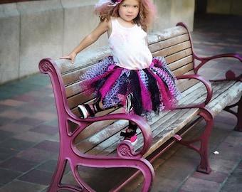 Rocker Tutu, Funky Tutu, black and pink tutu, 1st birthday tutu, skull tutu, hot pink tutu, Punk tutu, cake smash tutu, steampunk tutu, goth