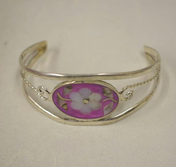 Bracelet Silver Wrist Cuff Shell Mother Pearl Flower Vintage Dark Pink Enamel Bracelet Handmade Silver Pink  Enamel Shell Cuff Bracelet
