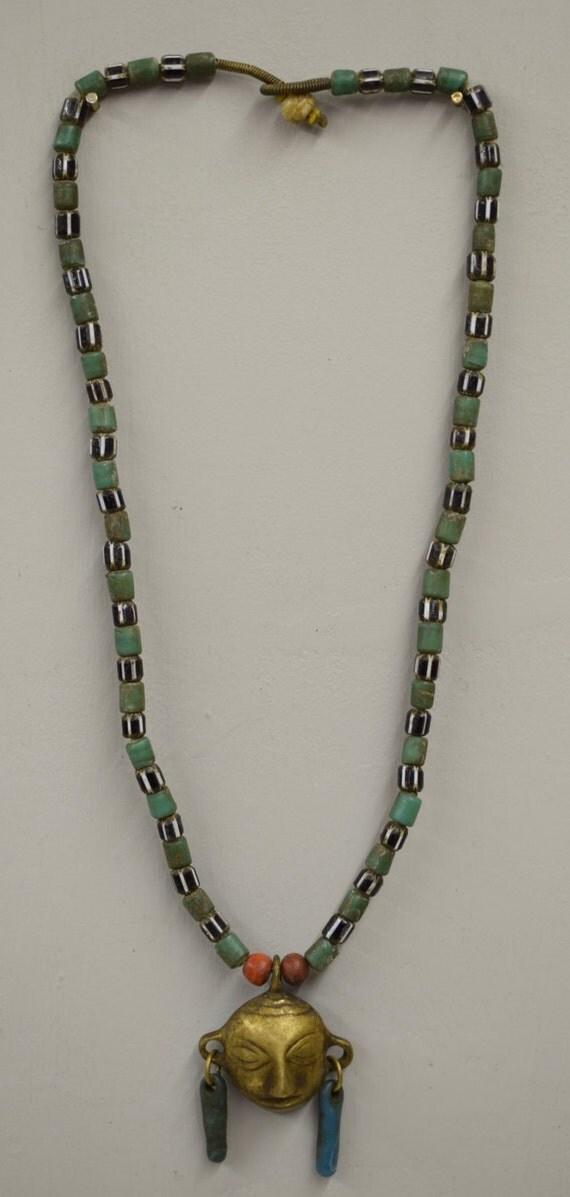 Naga Necklace Brass Head Pendant India Handmade Green Beads Black White Chevron Glass Trophy Naga Brass Head Necklace Unique