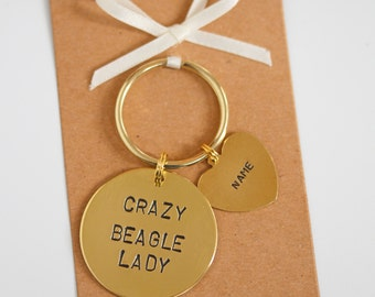 Crazy Beagle Lady Hand stamped Keyring, Personalised with dogs name(s)