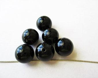 Onyx focal beads, Black Onyx focals, black onyx beads, 12mm black onyx beads, natural onyx beads, round black onyx, lot of 5