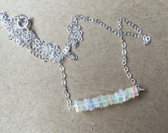 Stacked Opal Square Necklace (silver)