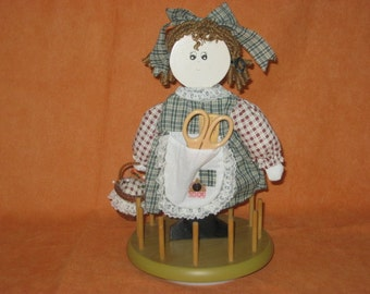 Vintage Sewing Caddy - Wooden Doll Thread Holder - Sewing Notion Holder