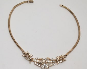 Vintage Trifari Pat Pend Necklace Snake Chain Clear Rhinestones
