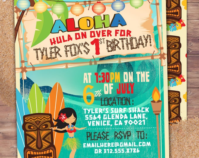 Tiki party, Hawaii invitation, Pool Party Invitation, surfer birthday, invite, Aloha, surfer, girl birthday, pool party, swimming, surfing,
