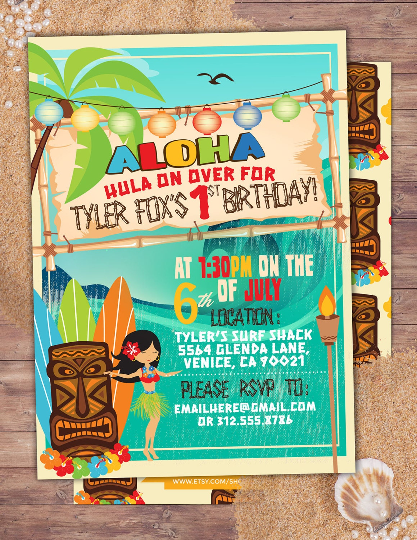 Tiki party, Hawaii invitation, Pool Party Invitation, surfer ...