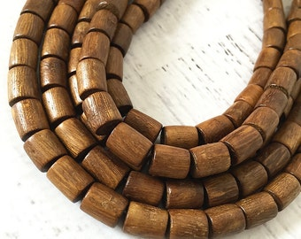 Robles Wood Tube Beads, Natural Wood Cylinder Shaped Beads, Brown Wooden Tube Beads, 8x8mm to 10x8mm - 38 beads (WS-11)