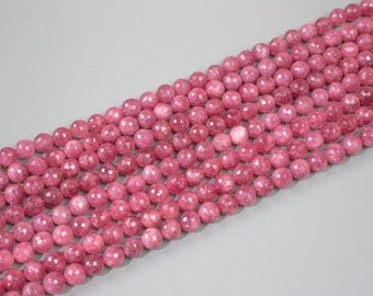Ruby Quartz Faceted Round beads. One full strand. 6mm, 8mm, 10mm, 12mm, 14mm, 16mm