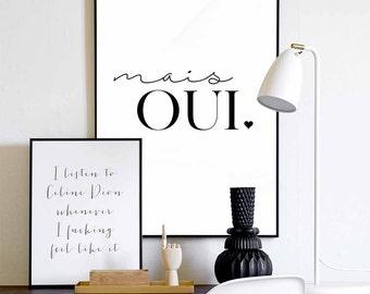 Mais Oui Poster Wall Art - Franse citaat, typografie poster, affiche van de muur - afdrukbare poster stijl, Wall Art Print, slaapzaal Decor, digitale kunst