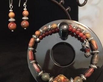 Apple Jasper bracelet & earring set