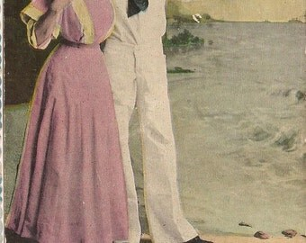 Honey Boy No. 4, Vintage Postcard, Illustration Postcard, Sailor, Sailing Over the Sea, Paper Ephemera, Victorian Clothing, 1911 Postmark