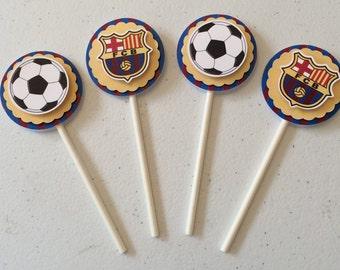 Soccer Barcelona Cupcake Topper 12 PC Mini or Standard