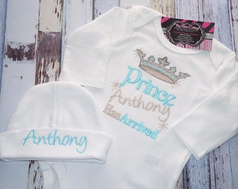 "Prince ""Name"" has arrived - The Princes has arrived, Embroidered Body Suits"