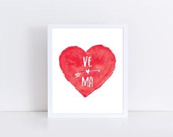 Wedding Decor, Wedding Printable, Wedding Download, Wedding Art, Custom Initials Print, Anniversary Gift, Love Printable, Instant Download