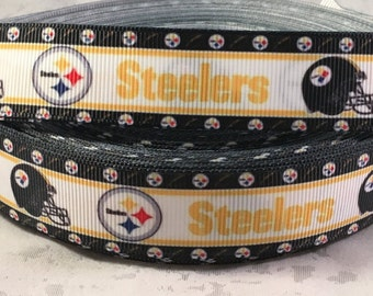 "Steelers Ribbon - 7/8"" Pittsburgh Steelers Grosgrain Ribbon by the yard, for hair bows, crafting and more!  Football Ribbon - Steelers"