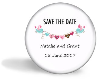 Save the Date Favour Magnet Set of 20  - Love Bird with Bunting 5.7cm (2.25 inches)