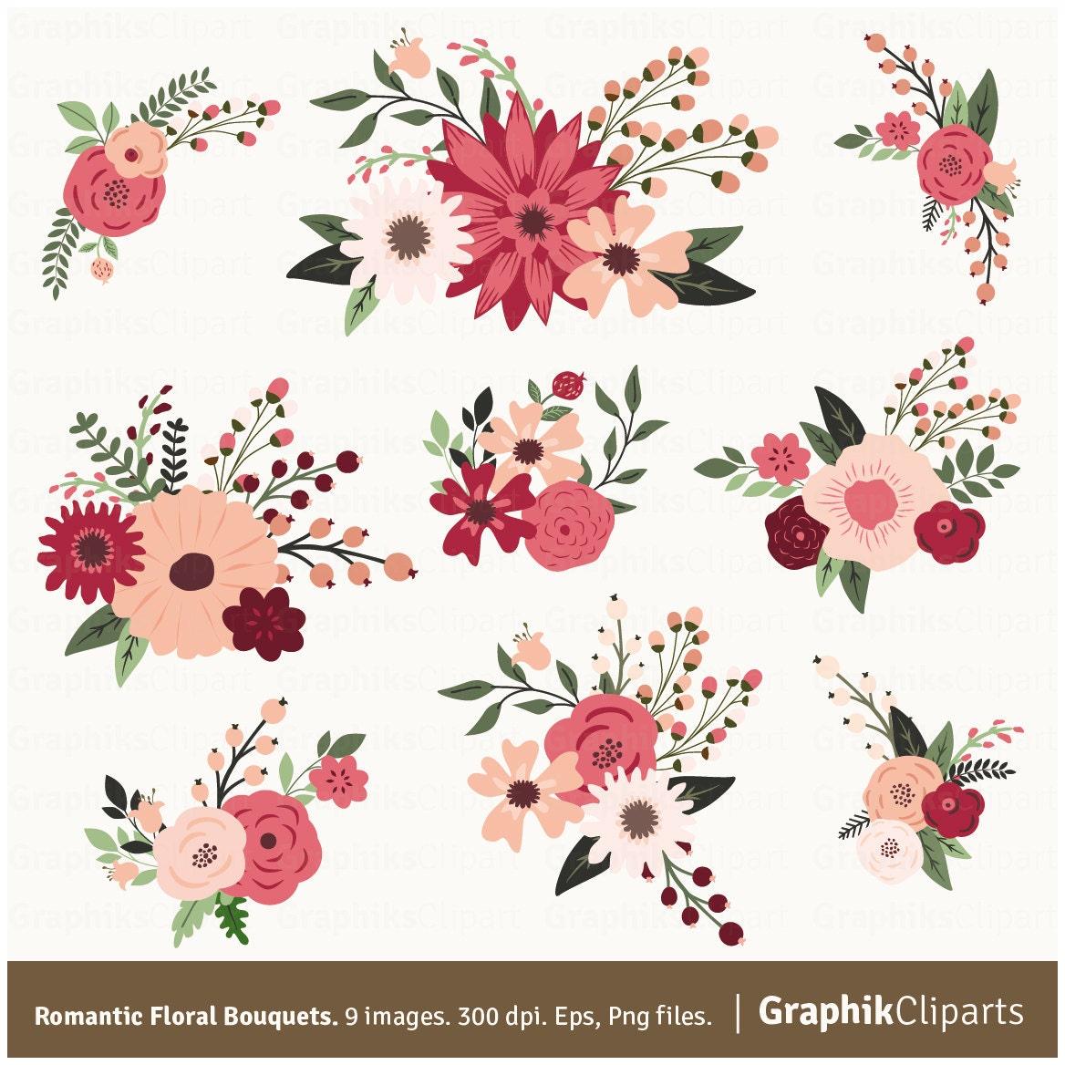 Romantic Floral Bouquets Clip Art. Wedding Flowers Romantic