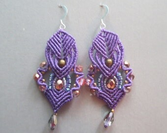 """Purple and gold """"hearts"""" earrings"""