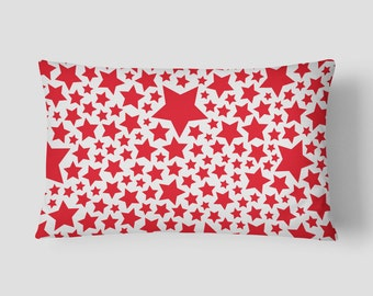 Red Stars Cushion, Red Decorative Pillow, White Red Pillow, 14x20 Cushion Cover, Modern Lumbar Pillow, Cover and Insert, Pattern Pillow