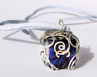 Wire-Wrapped Deep Blue D6 Dice Necklace