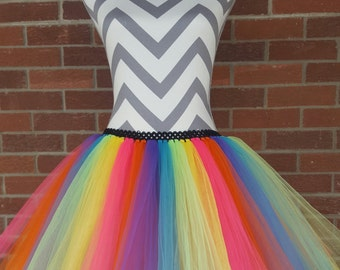 Adult Rainbow Tutu, Women's Clown Tutu, Adult Running Tutu, Adult Costume, Race Tutu, Spring Dress, Adult Tulle Skirt,Teen Tutu, Circus Tutu