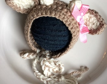 Crochet deer hat, baby deer bonnet, newborn deer bonnet, came deer hat, baby fawn deer hat, baby fawn hat, crochet doe hat, black friday