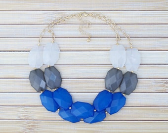 Color Block Statement Necklace, Blue & Gray 2 Two Strand Beaded Necklace, Blue Statement Jewelry, Blue Bubble Necklace, Colorblock Necklace