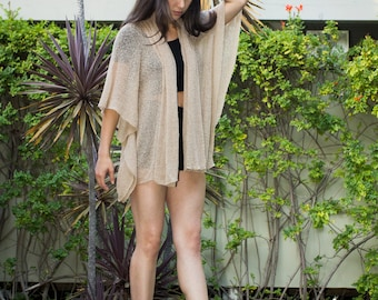 Khaki #10, Prema Sheer Knit Jacket Wrap, Lightweight Open Knit. Cozy yet sexy and feminine, wrap yourself in comfort!