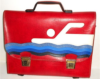 SWIMMING sport 70s made in italy - Vintage super beautiful school bag in leather red fashion