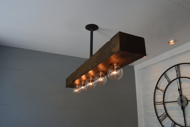 Reclaimed Wood Chandelier Light Fixture Farm Light