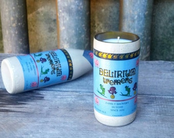 Belgium Craft Beer Candle From Recycled Delirium Tremens Glass Ceramic Bottle