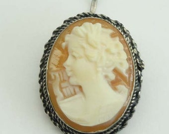 Miniature Sterling Silver Carved Female Cameo Pendant Brooch High Relief Girl in Profile
