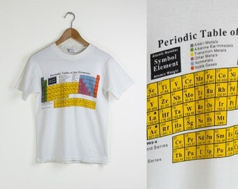 90s TABLE of ELEMENTS TEE / period table of elements tshirt / science shirt / chemistry graphic tee / 1990s vintage / adult / small
