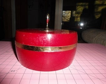 Vintage, Avon, Charisma, Beauty Dust, Red and Gold, Plastic, Powder Box, Container, Gift For Her, Art Deco, Home Decor, Vanity, Box, Round