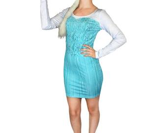 Adult Elsa Frozen Inspired Long Sleeve Bodycon Dress