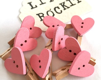 Pack of Ten Pink Heart Mini Pegs